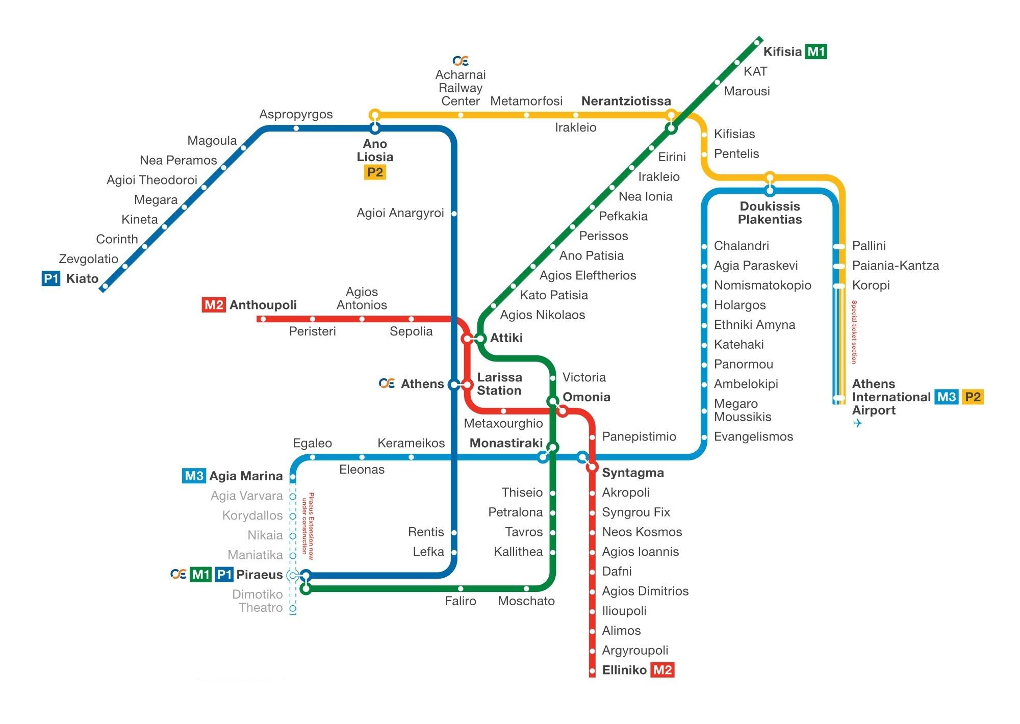 Схема Афинского метрополитена