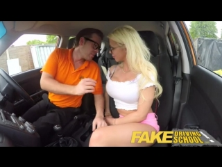 Driving school sexy busty blonde babe creampied on first lesson