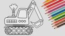 РАСКРАСКА Экскаватор. Раскрасить картинку для детей малышей Трактор - Экскаватор