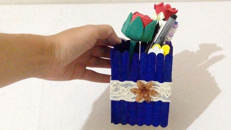 Como Fazer Porta Lápis com Caixinha de Papel e Palitos de Picolé - DIY
