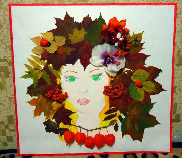 Лицо из листьев картинки