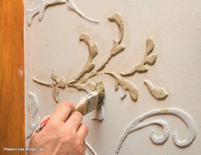 Гипсовые рисунки на стенах своими руками 11