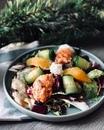 Салат с апельсином и лососевым риетом
