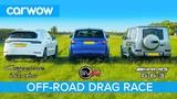 Mercedes-AMG G63 v Porsche Cayenne Turbo v Range Rover SVR OFF-ROAD DRAG RACE &amp ON TRACK RACE