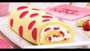 Бисквитный Рулет С Клубникой И Зефиром Красивый И Очень Вкусный Десерт