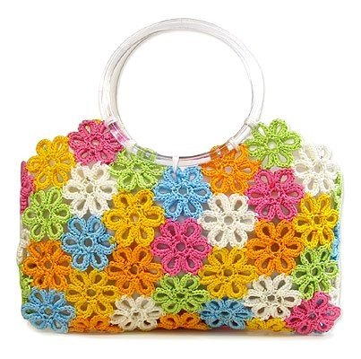 Летняя сумка из цветов крючком с пластмассовой ручкой… (2 фото) - картинка