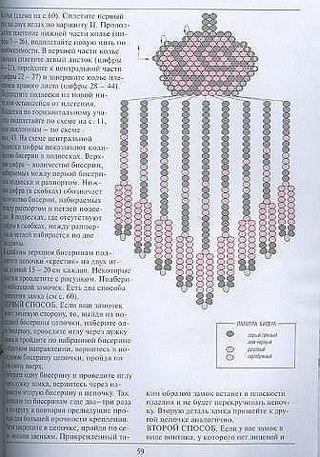 Схема серёжек из бисера