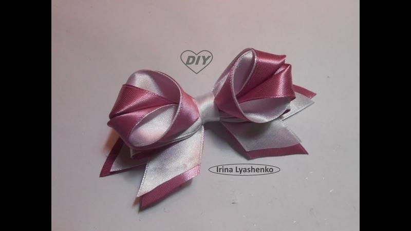Бант из лент 25мм МК/DIY Bow of ribbon 25mm/PAP Laço de fita 25mm143
