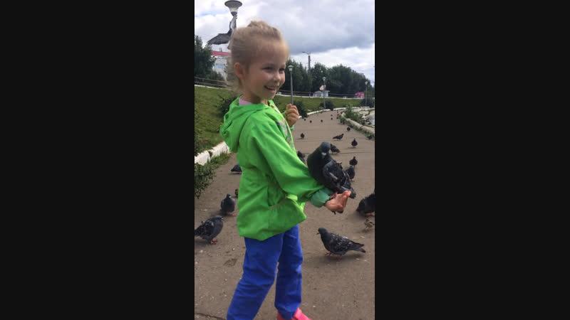 Леруська кормит голубя