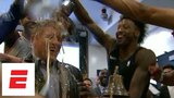 Philadelphia 76ers celebrate in locker room after beating Heat in first round | ESPN