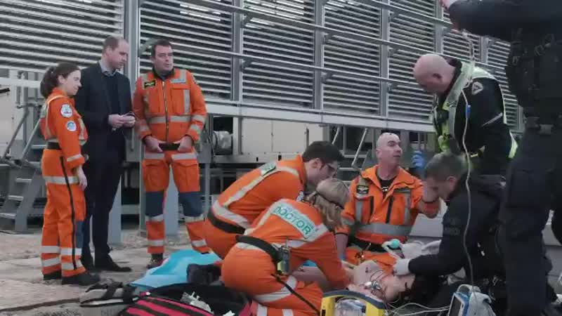 The Duke of Cambridge views a Moulage' mock up of an incident and team response of a thoracotomy a procedure commonly used by @