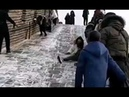 Very Funny Tourists Slipping on Great Wall of China