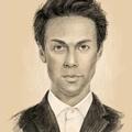 Юлия Барташова рисует портрет Марка Тишмана.