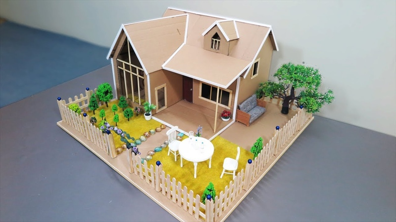 How To Make A Mansion House From Cardboard With Beautiful Fairy Garden - Popsicle Stick Crafts