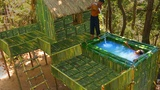 Build the Most Amazing Bamboo Villa Swimming Pool in Deep Jungle by Ancient Skills
