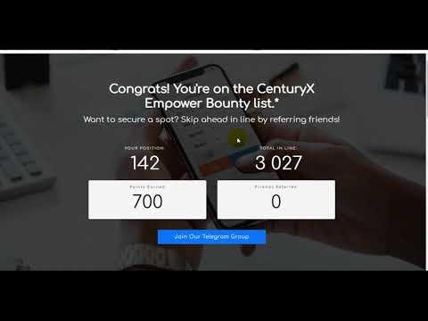 CenturyX Empower Bounty получаем монеты от новой биржи CenturyX ( bounty, airdrop, ico )