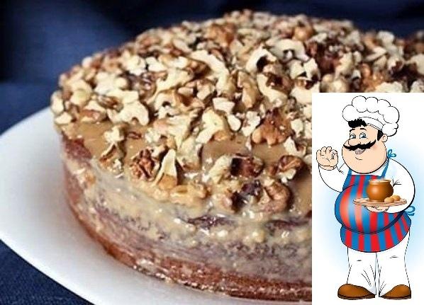 Простой пирог с варёной сгущёнкой