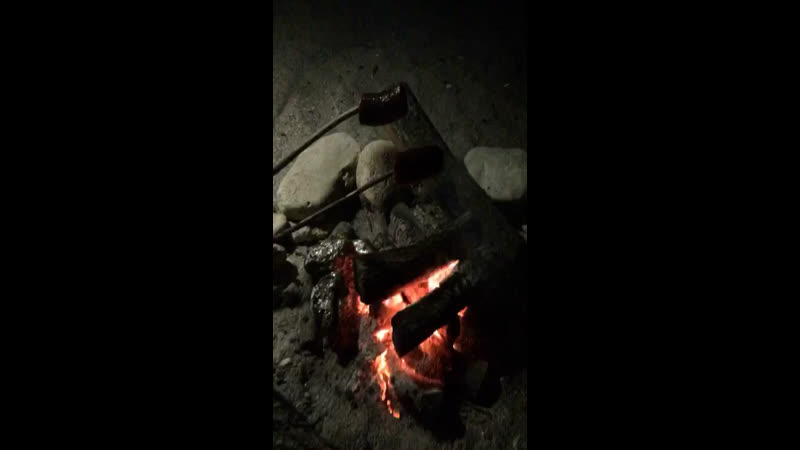 Camp fire and sausage