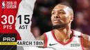 Damian Lillard Full Highlights Blazers vs Pacers Mar. 18, 2019 NBA Season