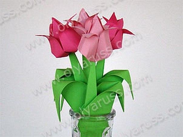Как сделать оригами из бумаги тюльпаны видео