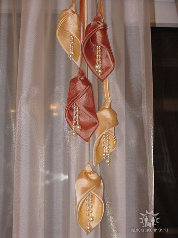 Цветы из ткани своими руками для штор с выкройками