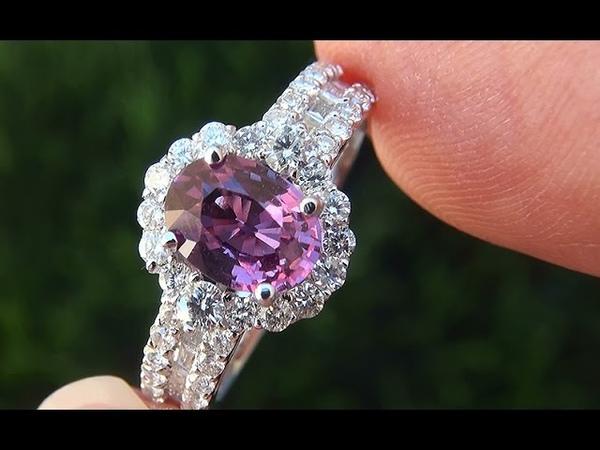GIA Certifeid VVS Natural Pink Sapphire Diamond 18k White Gold Engagement Cocktail Ring - C546