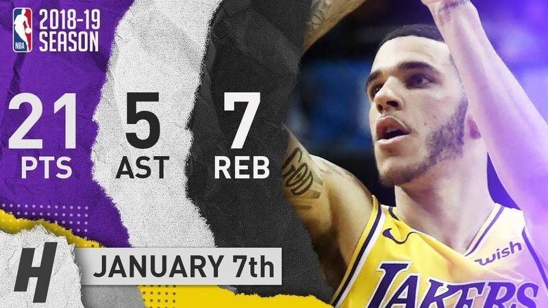 Lonzo Ball Full Highlights Lakers vs Mavericks 2019.01.07 - 21 Pts, 5 Ast, 7 Rebounds!