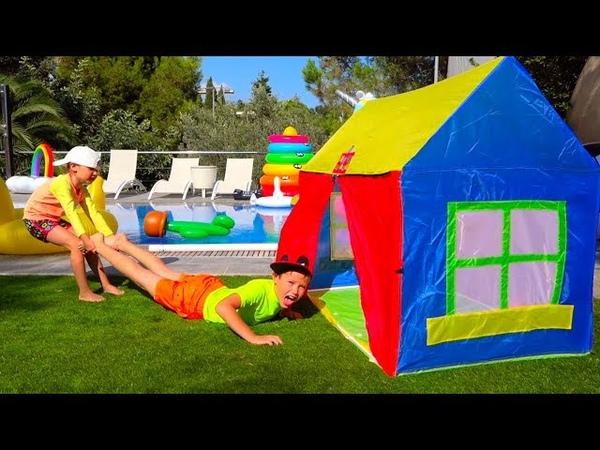 Катя и Макс НЕ ПОДЕЛИЛИ ЕДУ! Кто Во ВСЕМ ВИНОВАТ? /Kids have fun with children's play tent near pool