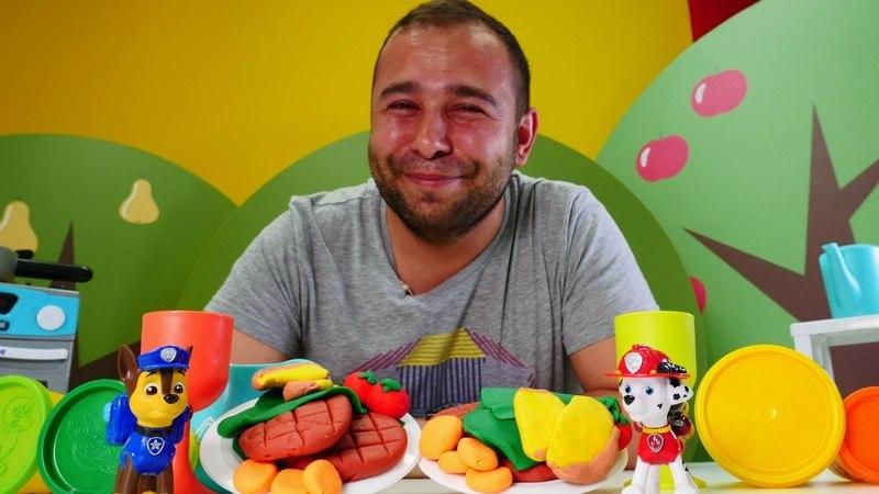 Paw Patrol için oyun hamurundan sağlıklı hamburger