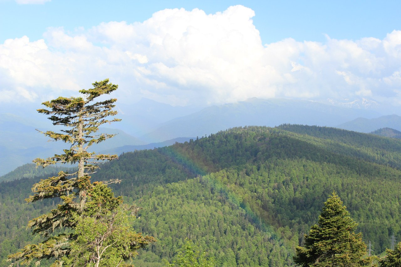 горы, радуга
