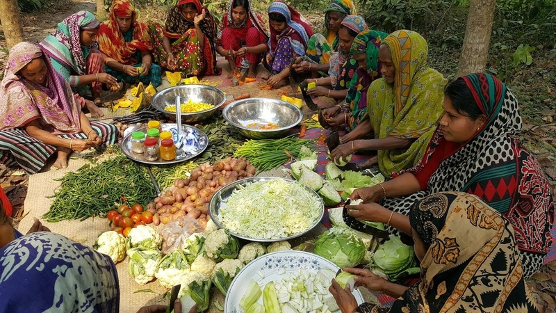 100 KG Fresh Vegetables Rice Prepared By Village Women - Tasty Mixed Vegetables Rice Cooking