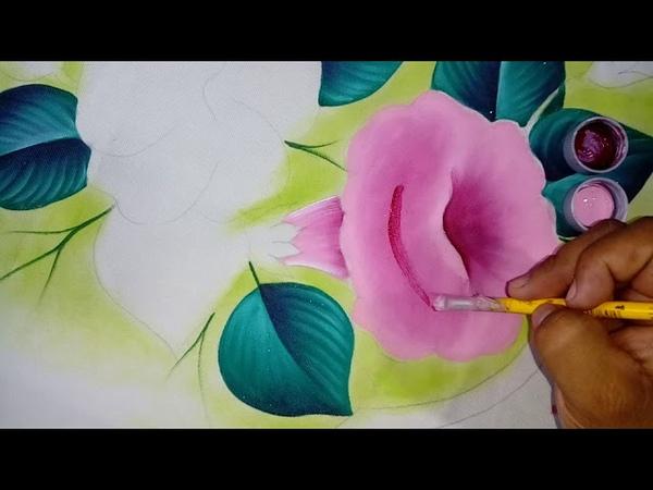 Pintando campanula rosa video 1.