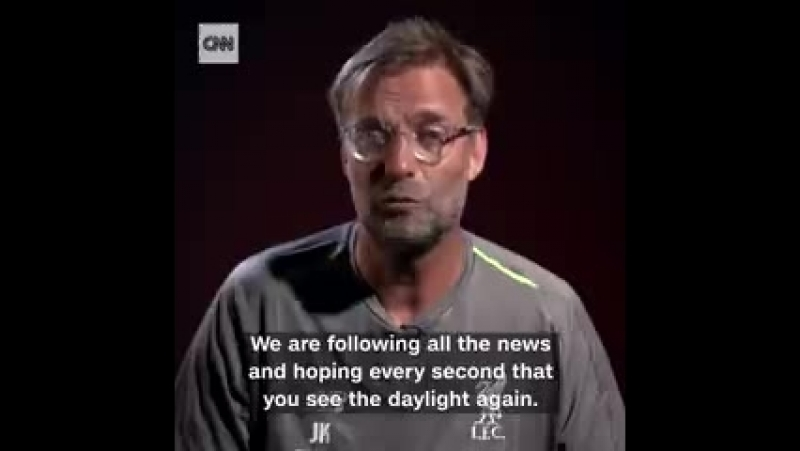Jürgen Klopp has delivered a message of hope to the Thai football team trapped in a cave.