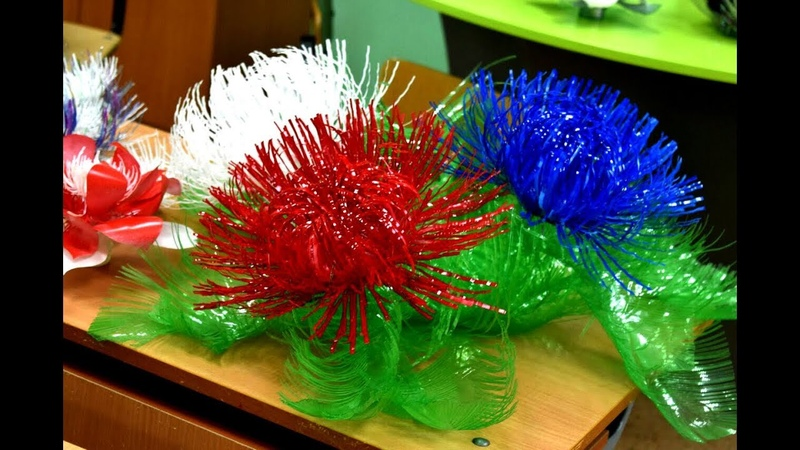 Hand-made flowers from plastic Цветы из пластиковых бутылок