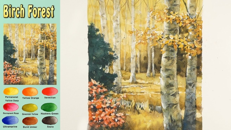 Basic Landscapr Watercolor- Birch forest (wet-in-wet. Fabriano rough) NAMIL ART