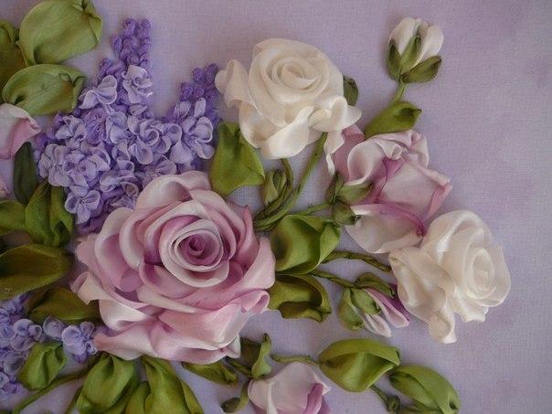 Вышивка лентами техника роз