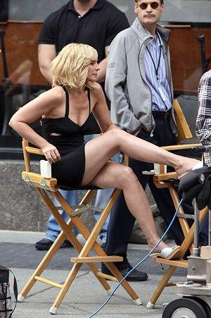 Актриса Ким Кэтролл на съемках фильма Секс в большом городе 2 б
