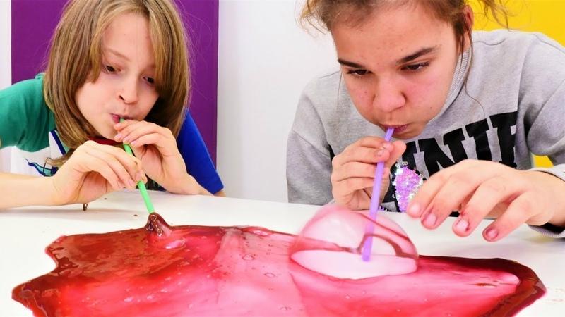 Çocuk videosu Sema ve Arseny ile slime şişirme challenge