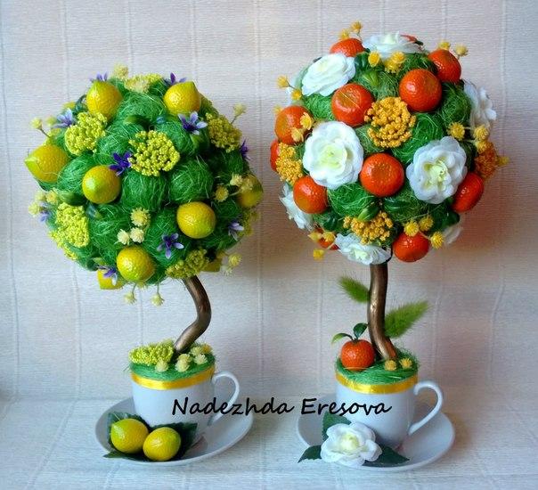 Топиарий из искусственных фруктов мастер класс