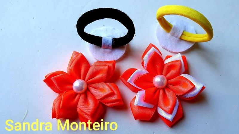 Flor de Fita de Cetim, Flor em camadas, Sandra Monteiro
