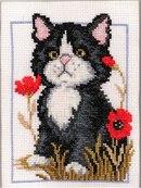 Вышивка крестиком - Кот в маках.  Животные.  Просмотров: 276 Дата.