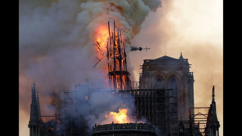 Exact Moment Of Notre-Dam Tower Collapse In Fire Caught On Camera in Paris France