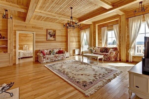 Идея интерьера гостиной из дерева.