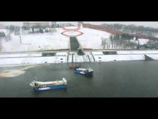 Эстафета Олимпийского Огня на  на судах на воздушной подушке Хивус-48 в Нижнем Новгороде