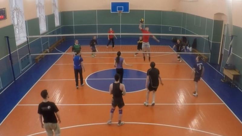 Любительский волейбол блок нападение