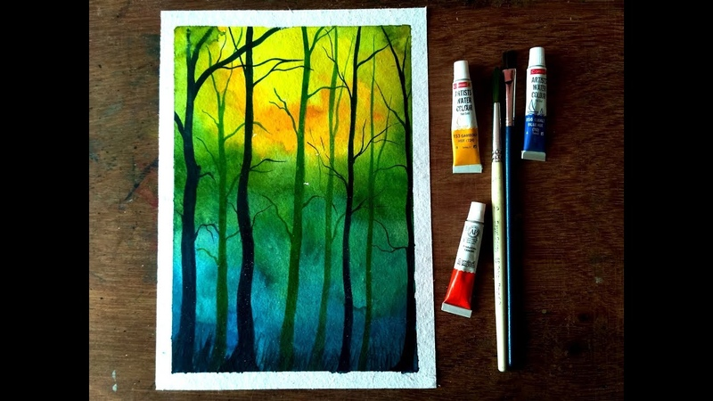 Watercolor Painting - Simple Trees Painting - Speed Painting
