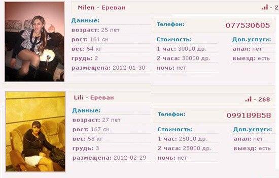 номера телефонов проституток армении