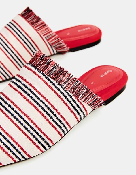 Туфли-мюли из ткани, на плоской подошве