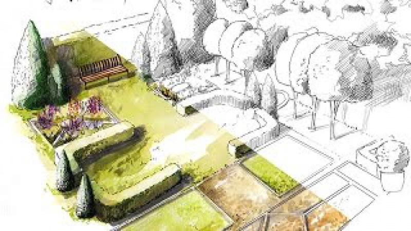 Рисуем эскиз ландшафта. Draw a sketch of the landscape.