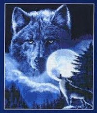 "1310руб.  Набор для вышивания  ""Дух волка "" * Техника: счетный крест * Артикул: DAW-008K * Размер: 28 х 33..."